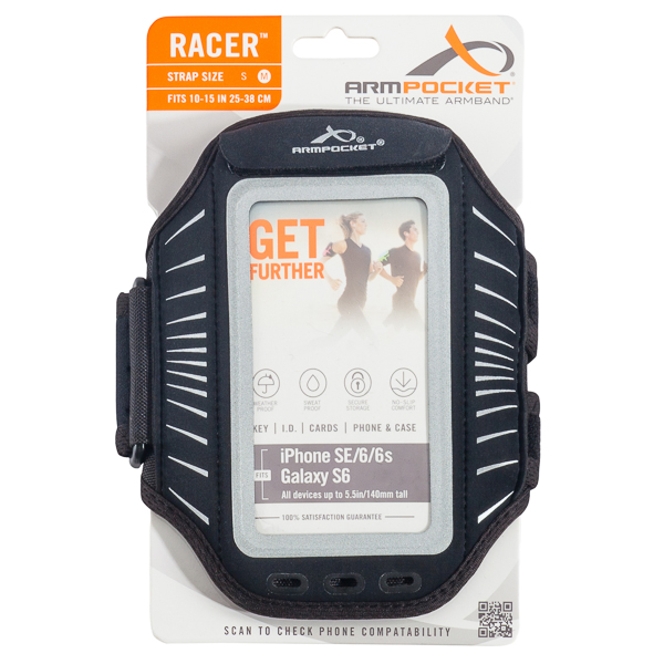 Armpocket Racer Sport Armband in Silver for iPhone 6/6S and Samsung Galaxy S5