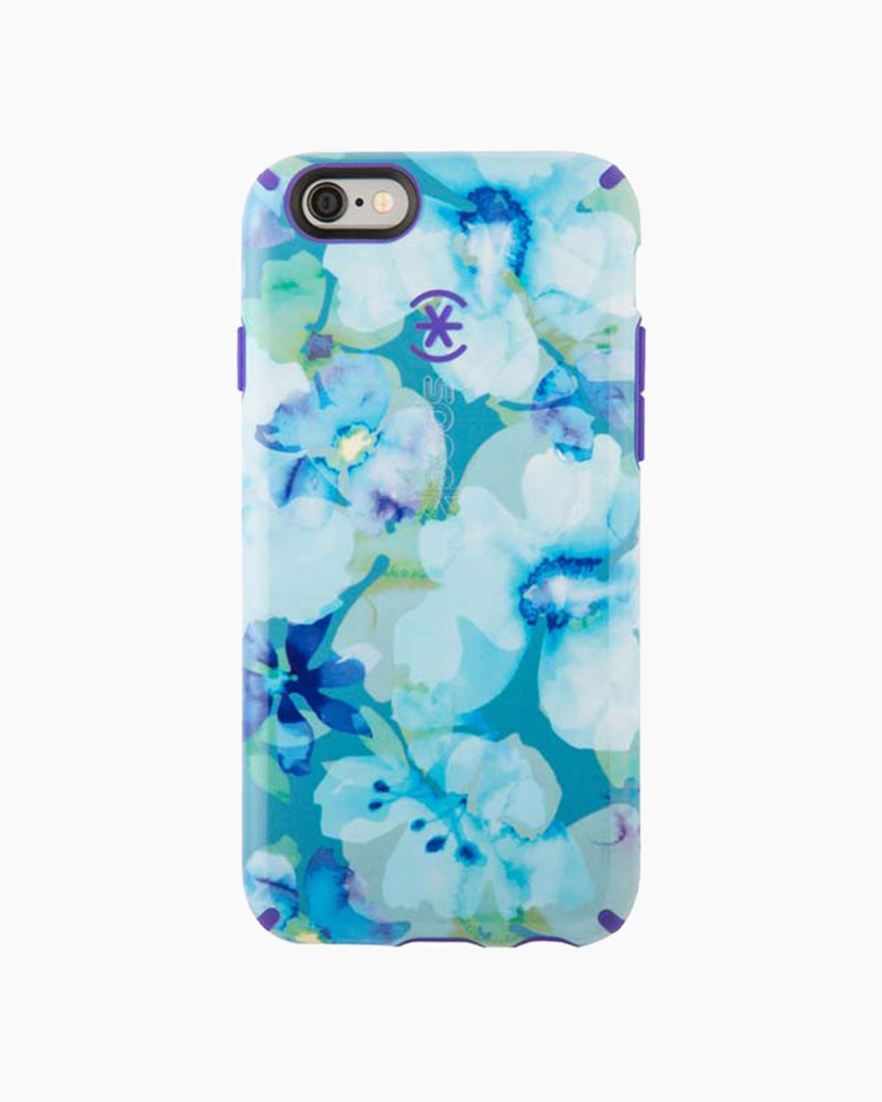 Speck Candyshell Inked Case for iPhone 6/6S in Aqua Floral Blue and Ultraviolet Purple