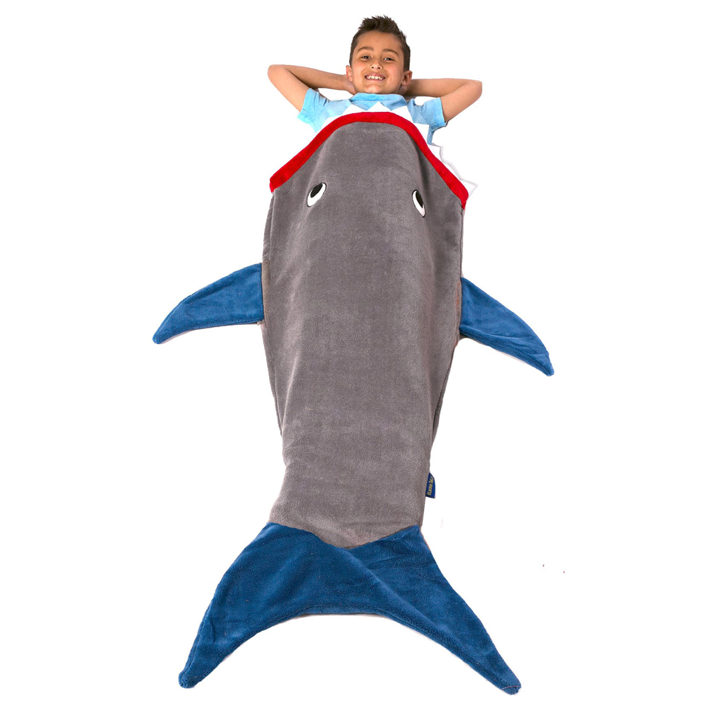 Blankie Tails Kids Shark Tail Blanket in Grey and Blue
