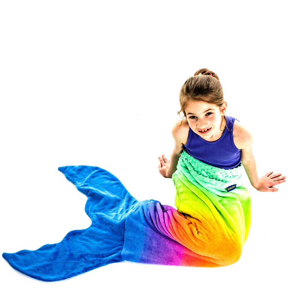 Blankie Tails Kids Limited Edition Rainbow Mermaid Tail Blanket