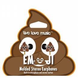 live. love. music. Poop Smiley Emoji Stereo Earbud Headphones with Microphone