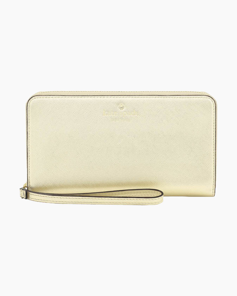 Kate Spade Gold Saffiano Leather Phone Wristlet