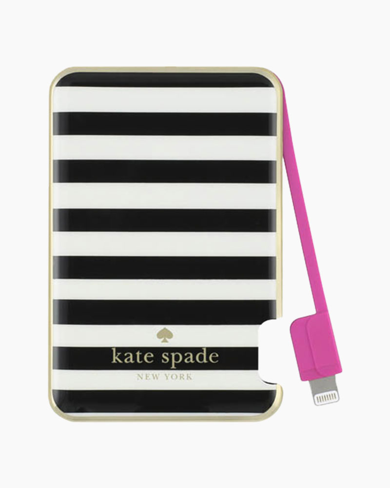 Kate Spade Black and White Stripe Portable Charger