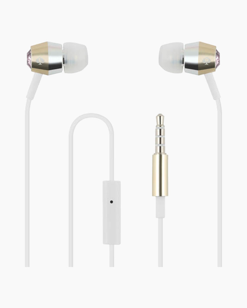 Kate Spade Vintage Two-Tone Metal and Crystal Earbuds