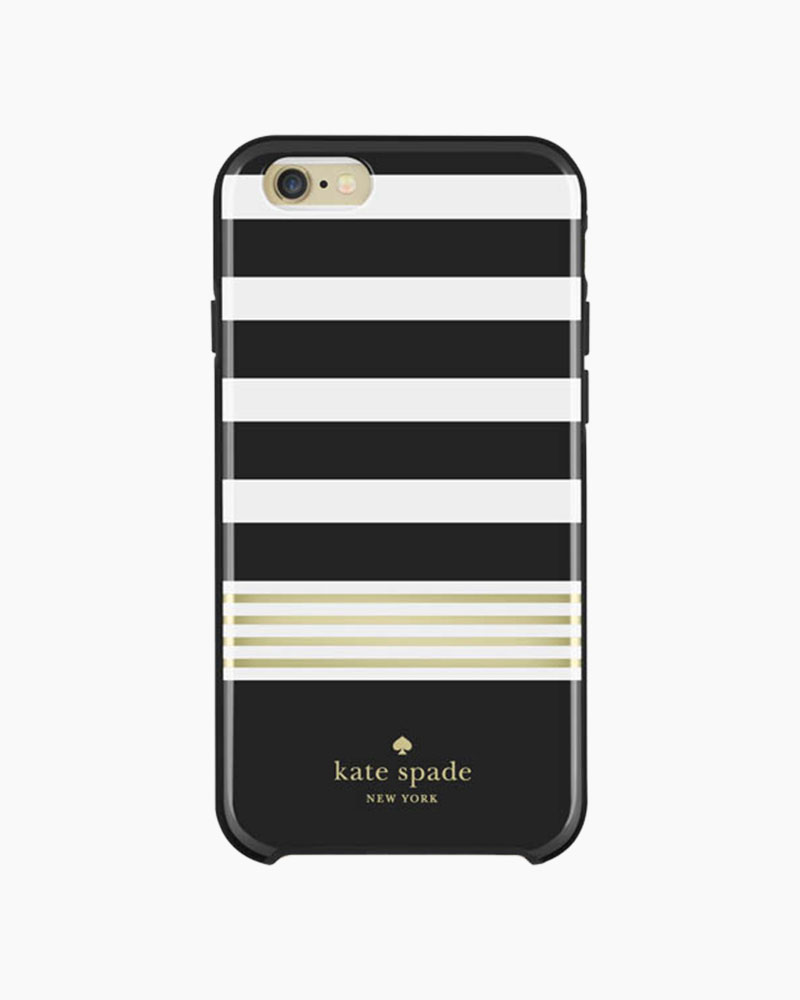 Kate Spade Black and White Stripe Hybrid Hardshell iPhone 6 and 6S Case