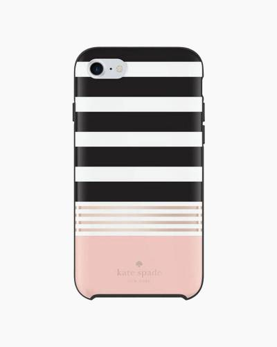 Rose Gold and Black Stripe iPhone 7 Case