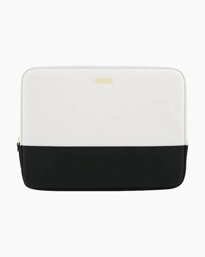 Saffiano Leather Laptop Case in Black and White