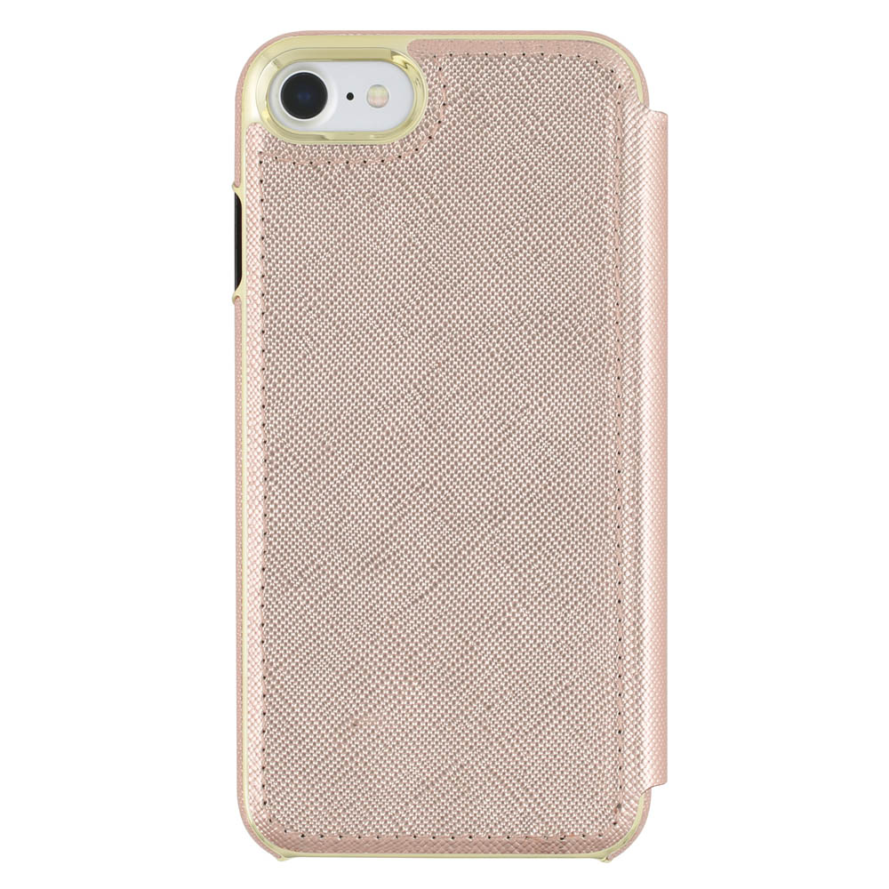 Kate Spade Rose Gold Saffiano Leather iPhone 7 Folio Wallet Case