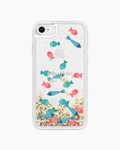 Glitter Flurry Case for iPhone in Drink Up Fishes (8, 7)