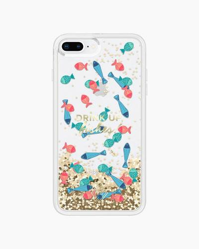 Glitter Flurry Case for iPhone in Drink Up Fishes (8 Plus, 7 Plus)