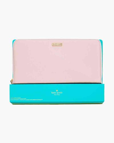 Saffiano Leather Laptop Case in Pink and Black