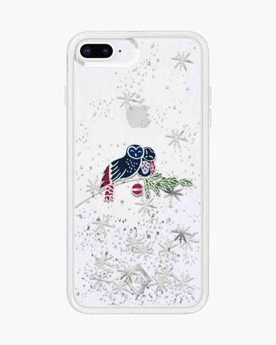 Glitter Flurry Case for iPhone in Holiday Owls (8 Plus, 7 Plus, 6S Plus, 6 Plus)
