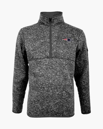 New England Patriots Fortune Quarter Zip Pullover in Smoke Heather