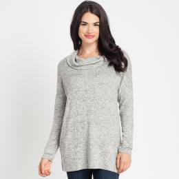 Mary Square Cowl Neck Top in Heather Grey