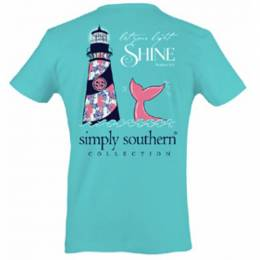 Simply Southern Women's Let Your Light Shine Short Sleeve Tee