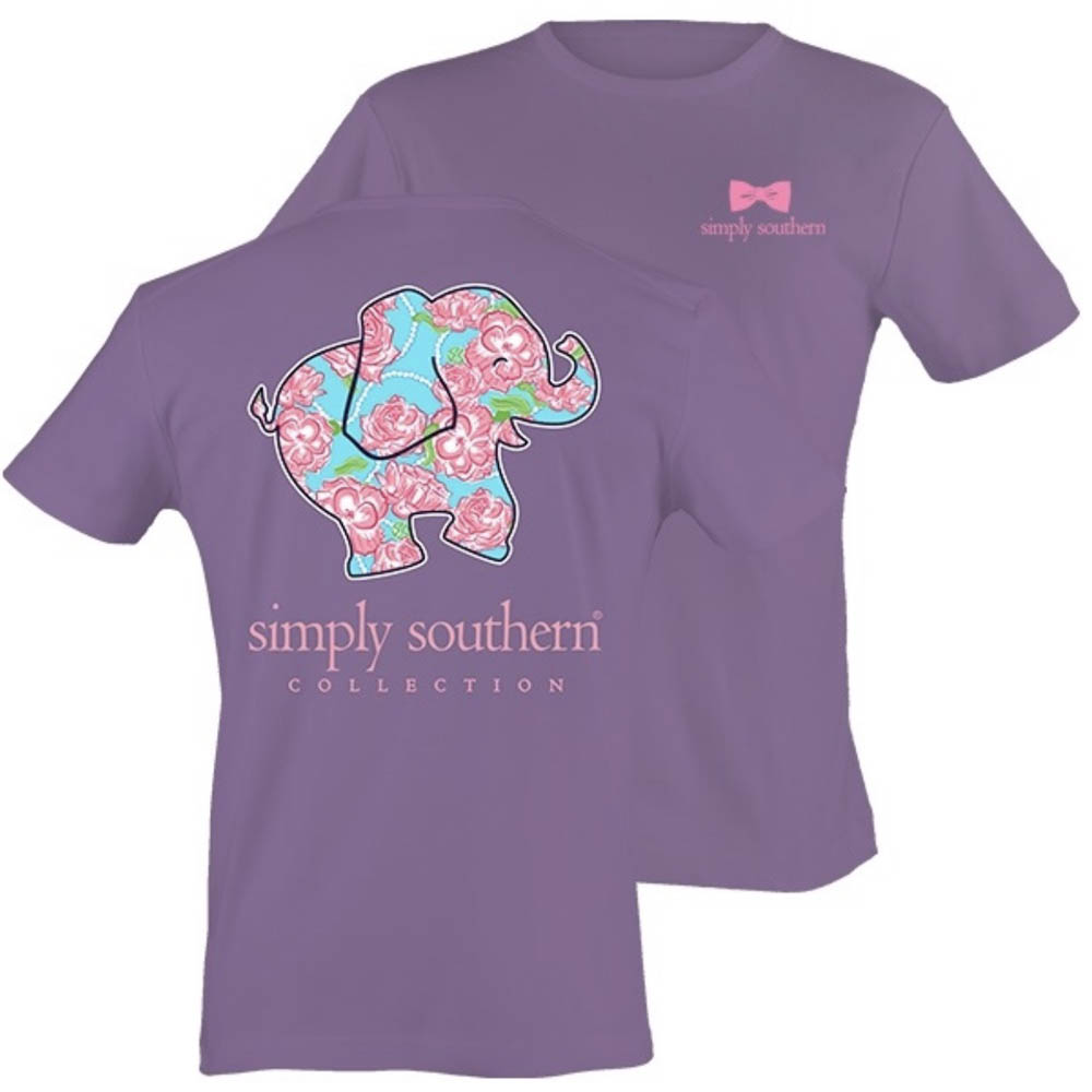 Simply Southern Women's Pink Flower Elephant Short Sleeve Tee