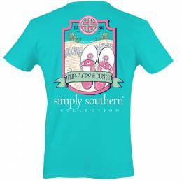 Simply Southern Women's Flop Flops and Dunes Short Sleeve Tee