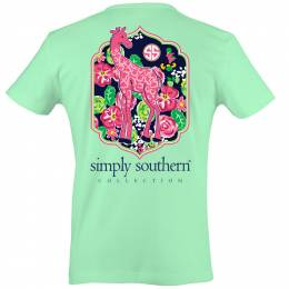 Simply Southern Women's Giraffe Short Sleeve Tee