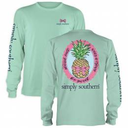 Simply Southern Women's Be Sweet Pineapple Long Sleeve Top