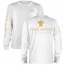 Simply Southern Women's Gold Glitter Sea Turtle Long Sleeve Top