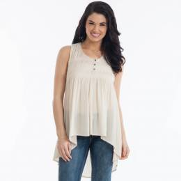 L Love Sleeveless Babydoll Top in Cream