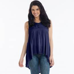 L Love Sleeveless Babydoll Top in Navy