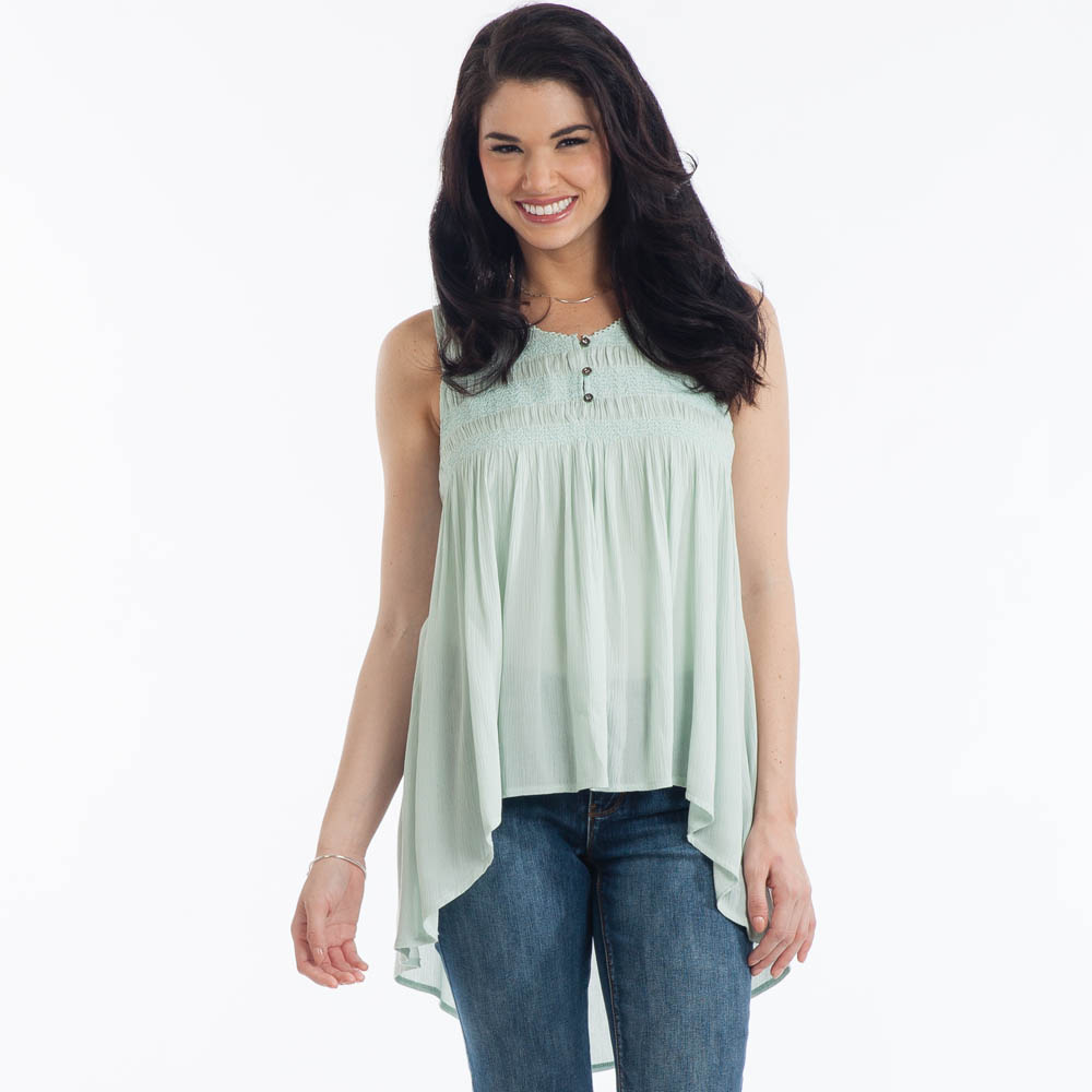 L Love Sleeveless Babydoll Top in Mint