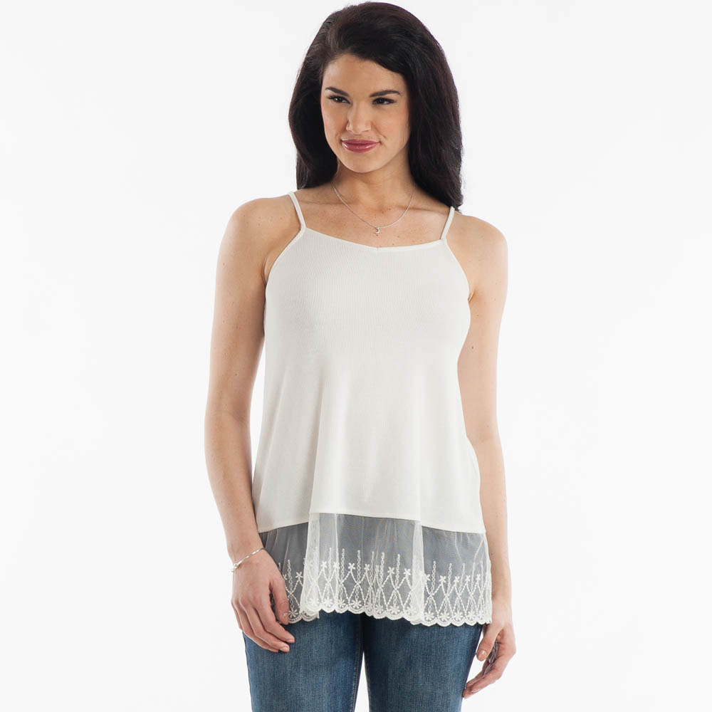 L Love Lace-Hem Tank in White