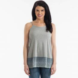 L Love Lace-Hem Tank in Grey