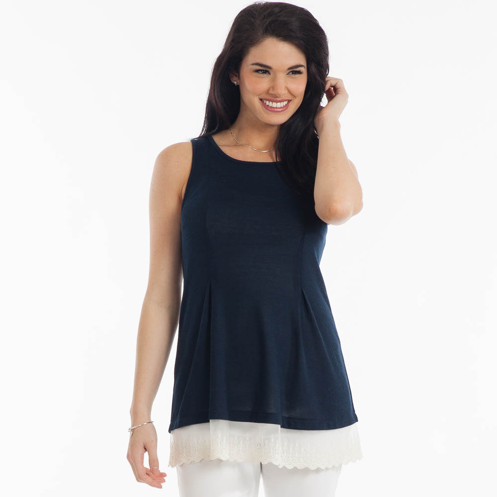 L Love Sleeveless Lace-Hem Top in Navy