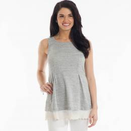 L Love Sleeveless Lace-Hem Top