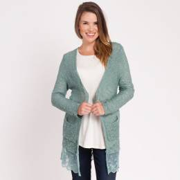 Mia + Tess Designs ™ Lace Trim Cardigan