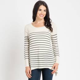 Mia + Tess Designs ™ Ivory and Black Stripe Sweater