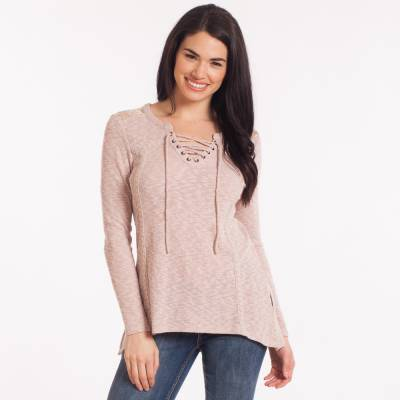 Lace Back Tie-Neck Top in Pink