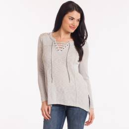L Love Lace Back Tie-Neck Top in Grey