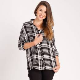 Mia + Tess Designs ™ Plaid Button-Up Top in Black and White