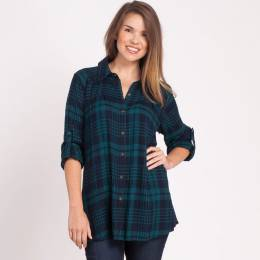 Mia + Tess Designs ™ Flowing Plaid Top