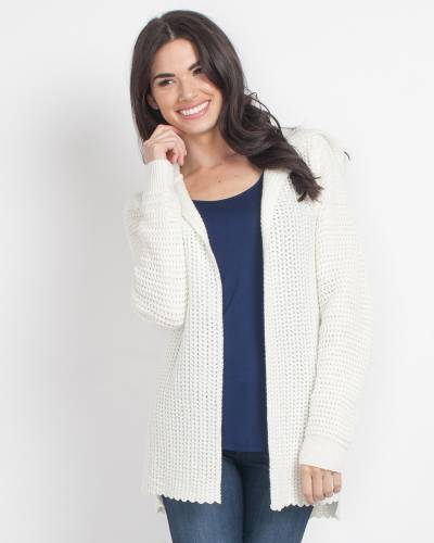 Exclusive Knit Hooded Cardigan in Cream