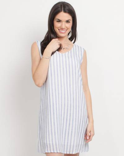 Exclusive Blue and White Stripe A-Line Dress