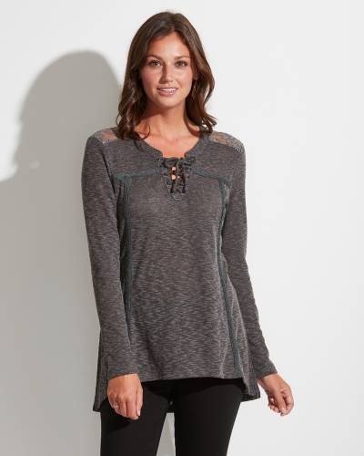 Exclusive Lace Back Tie-Neck Top in Charcoal Heather