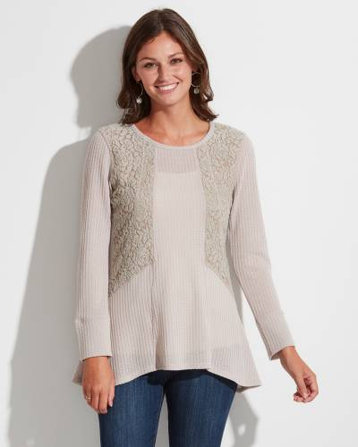 Exclusive Lace Panel Top in Mauve