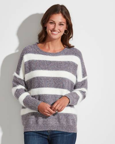 Exclusive Striped Sweater in Purple and White