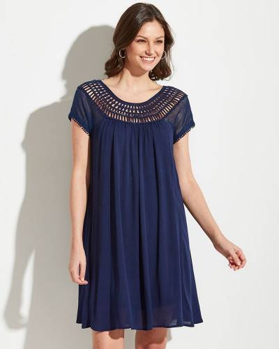 Exclusive Navy Lace Shoulder Dress