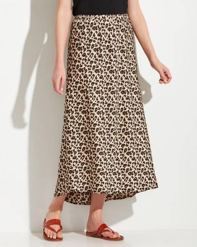 High-Low Leopard Print Skirt