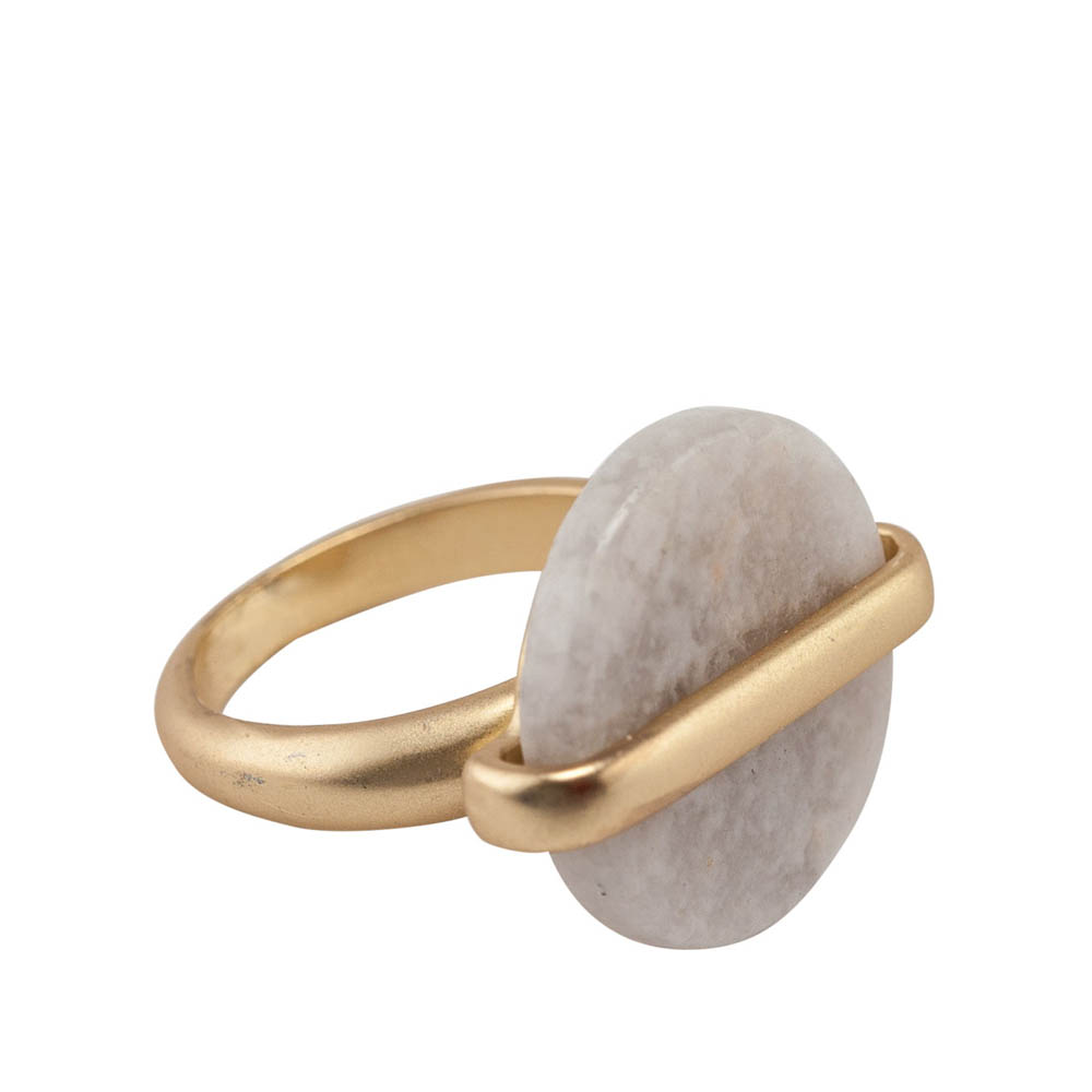 Mia and Tess Stone Circle Ring in Light Grey
