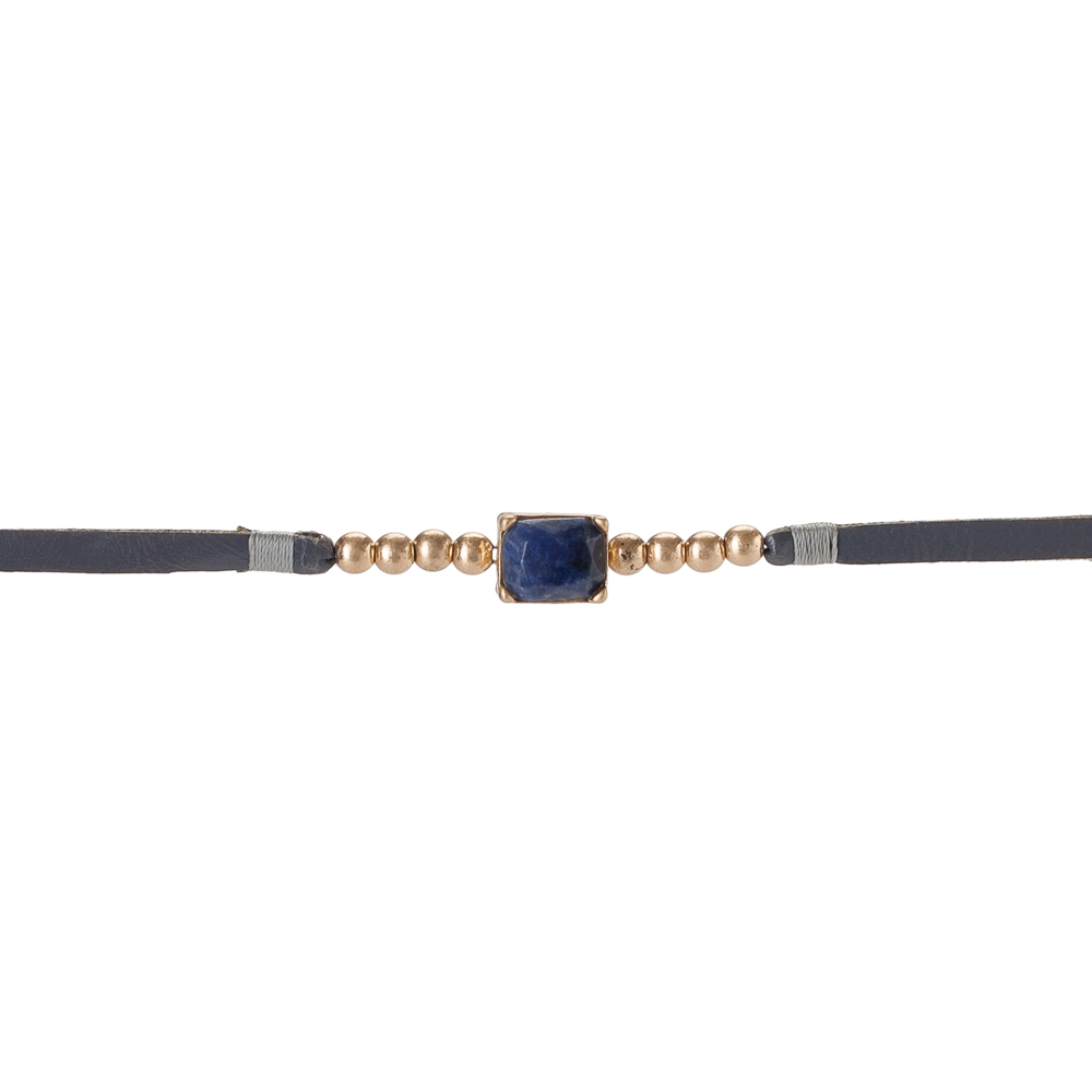 The Paper Store Stone Leatherette Choker Necklace in Grey