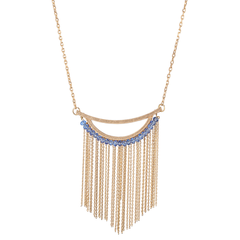 The Paper Store Fringe Necklace in Blue