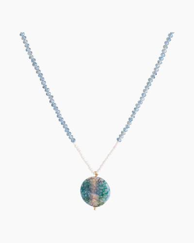 Short Stone Disc Necklace in Teal