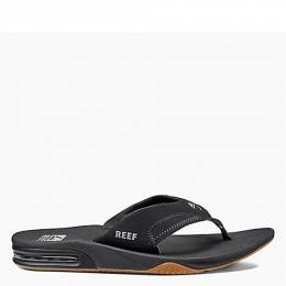 Reef Men's Fanning Sandals in Black and Silver