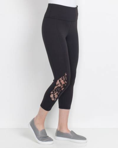 Lace Bottom Leggings in Black